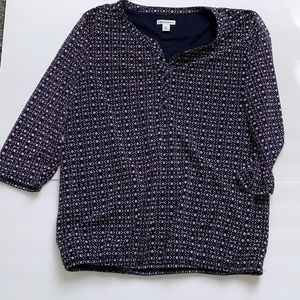 Croft and Barrow navy patterned top
